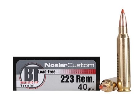 Nosler Trophy Grade Ammunition 223 Remington 40 Grain Ballistic Tip Varmint Lead-Free Box of 20
