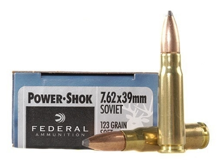 Federal Power-Shok Ammunition 7.62x39mm 123 Grain Soft Point Box of 20