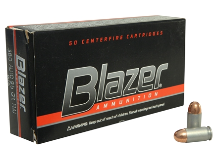 CCI Blazer Ammunition 380 ACP 95 Grain Total Metal Jacket Box of 50