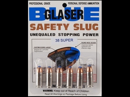 Glaser Blue Safety Slug Ammunition 38 Super 80 Grain Safety Slug