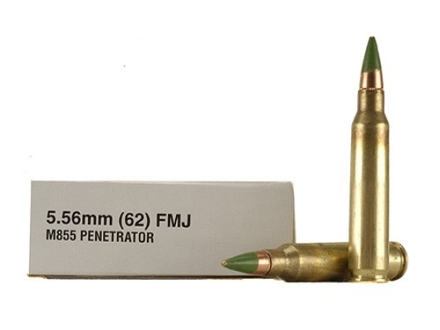 Winchester Ammunition 5.56x45 NATO 62 Grain M855 SS109 Penetrator Full Metal Jacket Boxer Primed