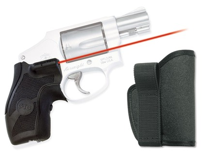 Crimson Trace Lasergrips with Pocket Holster S&W J-Frame Round Butt Polymer with Overmolded Rubber Wrap Around Black