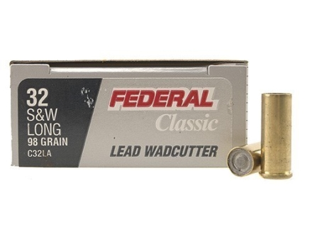 Federal Champion Target Ammunition 32 S&amp;W Long 98 Grain Lead Wadcutter Box of 20