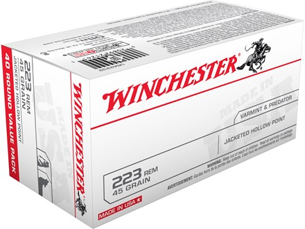 Winchester USA Ammunition 223 Remington 45 Grain Jacketed Hollow Point Box of 40