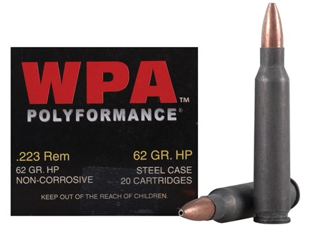 Wolf Ammunition 223 Remington 62 Grain Jacketed Hollow Point (Bi-Metal) Steel Case Box of 20