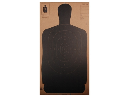NRA Official Silhouette Target B-27 (24&quot;) 50 Yard Cardboard Black Package of 24