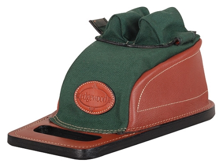Edgewood Original Rear Shooting Rest Bag Tall with Short Ears and Regular Stitch Width and Grab Handle Leather and Nylon Green Unfilled