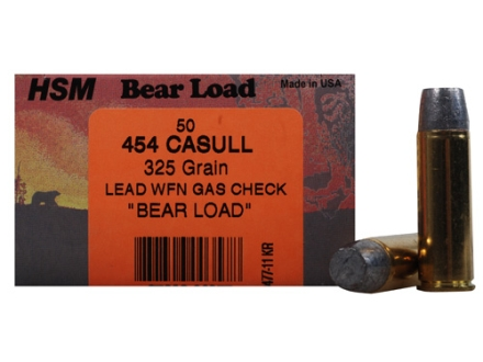 HSM Bear Ammunition 454 Casull 325 Grain Wide Flat Nose Gas Check Box of 50