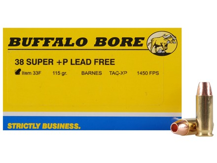 Buffalo Bore Ammunition 38 Super +P 115 Grain Barnes TAC-XP Jacketed Hollow Point Lead-Free Box of 20