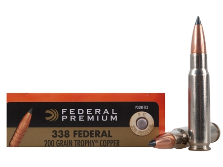 Federal Premium Vital-Shok Ammunition 338 Federal 200 Grain Trophy Copper Tipped Boat Tail Box of 20