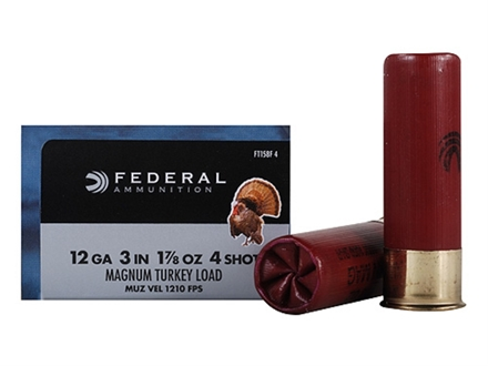 "Federal Strut-Shok Turkey Ammunition 12 Gauge 3"" 1-7/8 oz Buffered #4 Shot Box of 10"