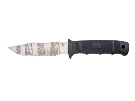 "SOG Seal Pup Knife 4.75"" Partially Serrated Stainless Steel Clip Point Blade GRN Handle Black"
