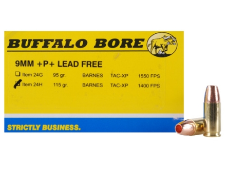 Buffalo Bore Ammunition 9mm Luger +P+ 115 Grain Barnes TAC-XP Jacketed Hollow Point Lead-Free Box of 20