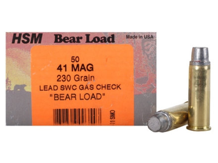 HSM Bear Ammunition 41 Remington Magnum 230 Grain Semi-Wadcutter Gas Check Box of 50
