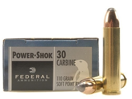 Federal Power-Shok Ammunition 30 Carbine 110 Grain Round Nose Soft Point Box of 20