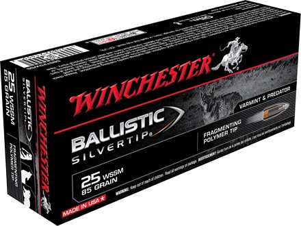 Winchester Supreme Ammunition 25 Winchester Super Short Magnum (WSSM) 85 Grain Ballistic Silvertip Box of 20