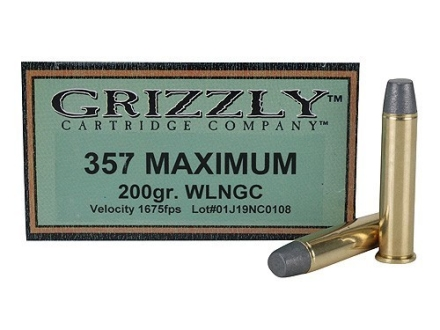 Grizzly Ammunition 357 Maximum 200 Grain Lead Wide Nose Gas Check Box of 20