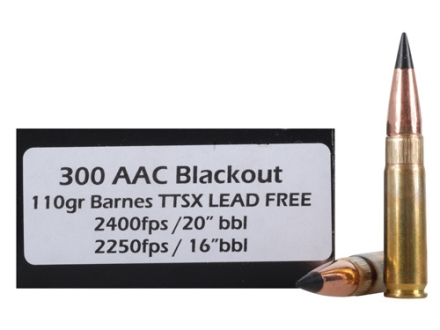 Doubletap Ammunition  300 AAC Blackout (7.62x35mm)  110 Grain Barnes TAC-TX Flat Base Lead-Free Box of 20