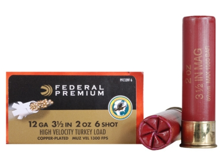 Federal Premium Mag-Shok Turkey Ammunition 12 Gauge 3-1/2&quot; 2 oz #6 Copper Plated Shot High Velocity Box of 10