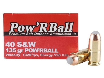 Glaser Pow'RBall Ammunition 40 S&W 135 Grain Box of 20