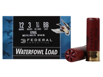 "Federal Speed-Shok Waterfowl Ammunition 12 Gauge 3"" 1-1/4 oz BB Non-Toxic Steel Shot"