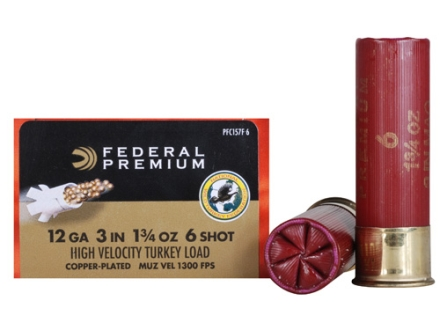 Federal Premium Mag-Shok Turkey Ammunition 12 Gauge 3&quot; 1-3/4 oz #6 Copper Plated Shot High Velocity Box of 10