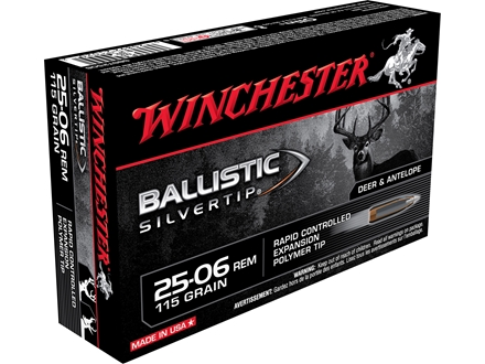 Winchester Supreme Ammunition 25-06 Remington 115 Grain Ballistic Silvertip Box of 20