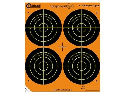 Caldwell Orange Peel Target 4&quot; Self-Adhesive Bullseye (4 Bulls Per Sheet)