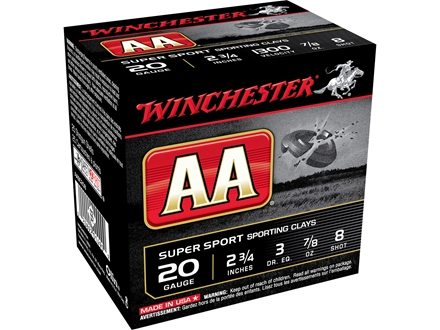 Winchester AA Super Sport Sporting Clays Ammunition 20 Gauge 2-3/4&quot; 7/8 oz #8 Shot