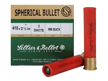 Sellier &amp; Bellot Ammunition 410 Bore 2-1/2&quot; 000 Buckshot 3 Pellets Box of 25