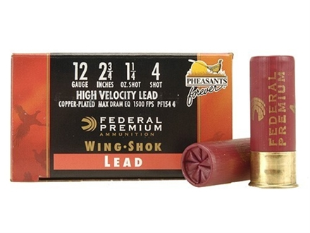 Federal Premium Wing-Shok Pheasants Forever Ammunition 12 Gauge 2-3/4&quot; 1-1/4 oz Buffered #4 Copper Plated Shot Box of 25