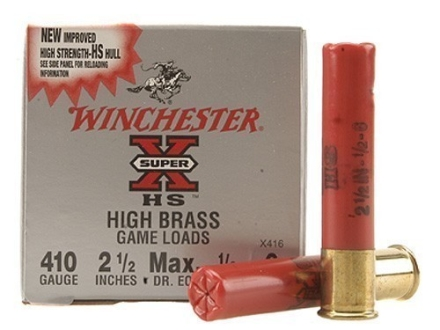 Winchester Super-X High Brass Ammunition 410 Bore 2-1/2&quot; 1/2 oz #6 Shot Box of 25