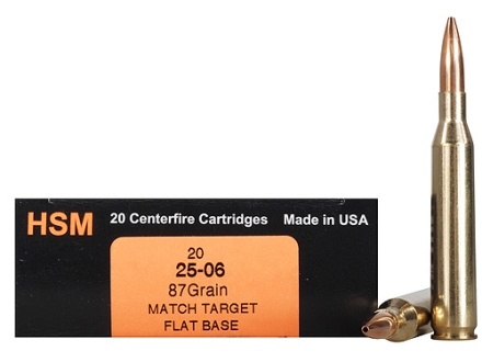 HSM Trophy Gold Ammunition 25-06 Remington 87 Grain Berger Target Hollow Point Flat Base Box of 20