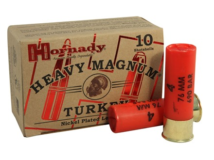 Hornady Heavy Magnum Turkey Ammunition 12 Gauge 3&quot; 1-1/2 oz #4 Nickel Plated Shot Box of 10