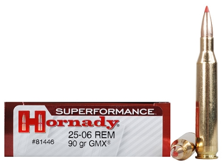 Hornady SUPERFORMANCE Ammunition 25-06 Remington 90 Grain Gilding Metal Expanding Boat Tail Box of 20