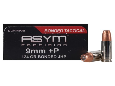 ASYM Precision Bonded Tactical Ammunition 9mm Luger +P 124 Grain Jacketed Hollow Point Box of 20