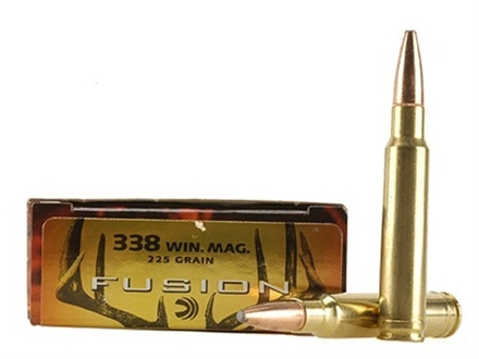 Federal Fusion Ammunition 338 Winchester Magnum 225 Grain Spitzer Boat Tail Box of 20