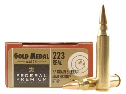 Federal Premium Gold Medal Ammunition 223 Remington 77 Grain Sierra MatchKing Hollow Point Boat Tail Box of 20