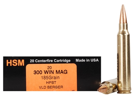 HSM Trophy Gold Ammunition 300 Winchester Magnum 185 Grain Berger Hunting VLD Hollow Point Boat Tail Box of 20