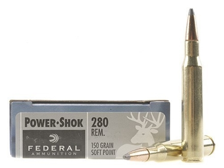 Federal Power-Shok Ammunition 280 Remington 150 Grain Soft Point Box of 20