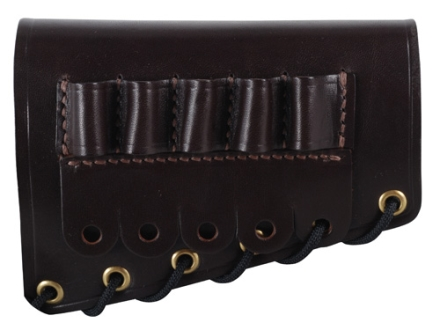 Galco Rifle Cheek Rest Right Hand with 30-06 Rifle Ammunition Carrier 5-Round Leather Dark Havana