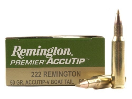Remington Premier Varmint Ammunition 222 Remington 50 Grain AccuTip Boat Tail Box of 20