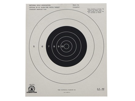 NRA Official Pistol Target B-16 25 Yard Slow Fire Paper Package of 100