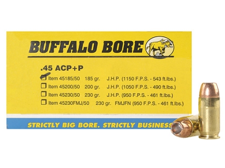 Buffalo Bore Ammunition 45 ACP +P 185 Grain Jacketed Hollow Point Box of 50