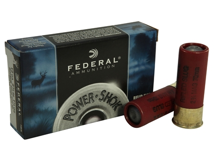 "Federal Power-Shok Ammunition 12 Gauge 2-3/4"" 1-1/4 oz Hollow Point Rifled Slug Box of 5"