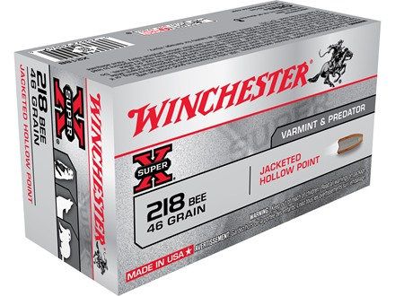 Winchester Super-X Ammunition 218 Bee 46 Grain Jacketed Hollow Point Box of 50