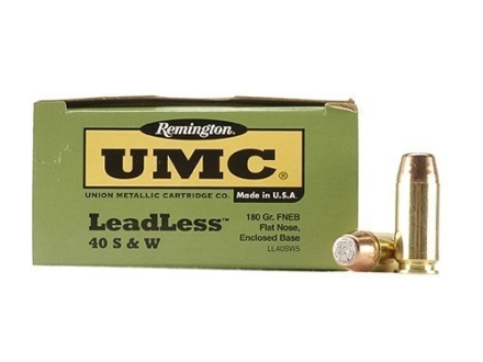 Remington UMC Ammunition 40 S&W 180 Grain Flat Nose Enclosed Base Box of 50