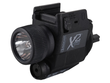 Insight Tech Gear X2L Sub-Compact Tactical Illuminator Flashlight with Laser Halogen Bulb  fits Picatinny or Glock-Style Rails Polymer Black