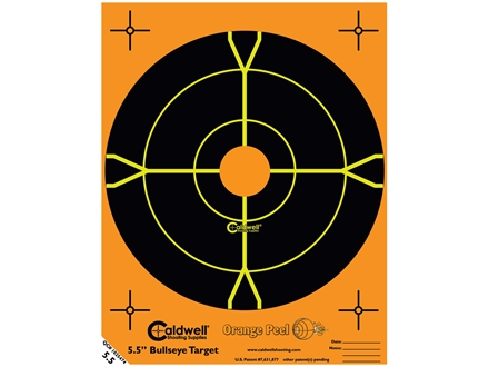 Caldwell Targets Orange Peel Factory Seconds 5-1/2&quot; Self-Adhesive Bullseye 50 Sheet Pack