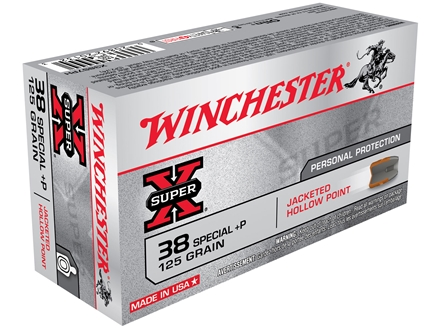 Winchester Super-X Ammunition 38 Special +P 125 Grain Jacketed Hollow Point Box of 50